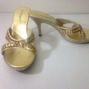 Gold Heels 9 M Formal Evening Shoes Pierre Dumas